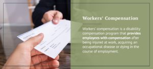 Worker receiving a compensation check from his/her employee.